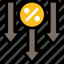 credit loan, loan, finance, decrease, loss, percent, arrow