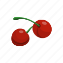 cherries, cherry, food, fruit, sweet icon
