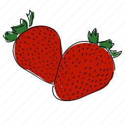 farm, food, fruit, hand drawn, red, strawberries, strawberry icon