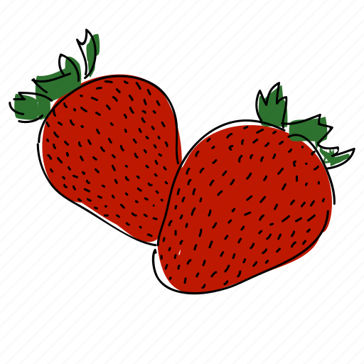 farm, food, fruit, hand drawn, red, strawberries, strawberry icon