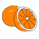citrus, food, fruit, hand drawn, orange, oranges, produce icon