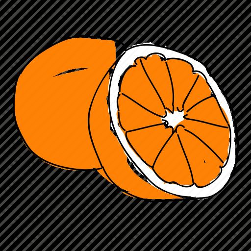 citrus, food, fruit, hand drawn, orange, oranges, produce icon