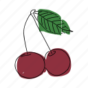 black cherries, cherries, cherry, cherry tree, food, fruit, produce icon
