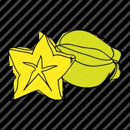carambola, exotic, food, fruit, produce, starfruit, tropical fruit icon