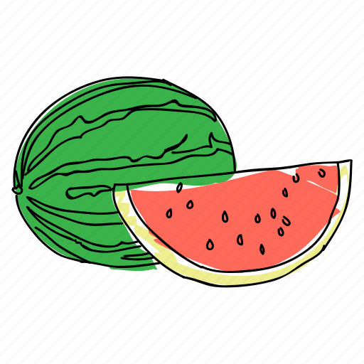 food, fruit, hand drawn, melon, picnic, produce, watermelon icon