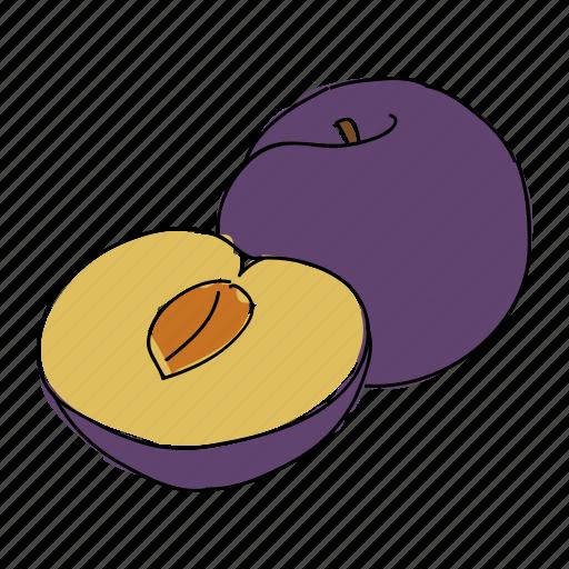 food, fruit, hand drawn, harvest, plum, produce, purple icon
