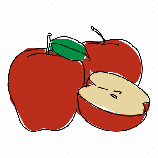 apple, apples, food, fruit, hand drawn, orchard, red apple icon