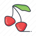 cherries, fresh, fruits icon