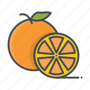cut, fresh, fruits, orange icon