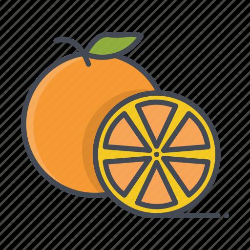 cut, fresh, fruits, orange icon