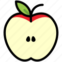 apple, fresh, fruit, half, healthy, nature, organic icon