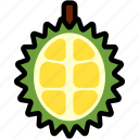 asian, durian, fresh, fruit, half, organic, tropical icon
