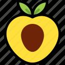 fresh, fruit, half, juicy, organic, peach, sweet icon