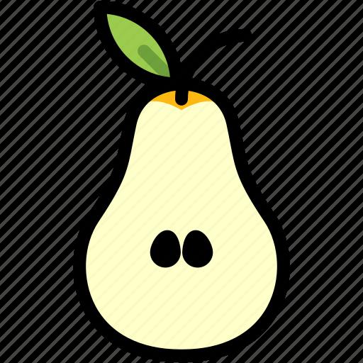 fresh, fruit, half, healthy, juicy, organic, pear icon