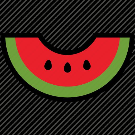 food, fresh, fruit, sliced, summer, tropical, watermelon icon