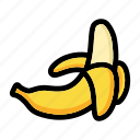 banana fruit, fresh fruit, fruit, nutrition, peeled banana icon