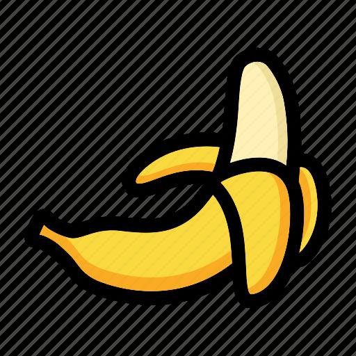 banana fruit, fresh fruit, fruit, nutrition, peeled banana icon