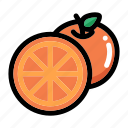 citrus, fresh fruit, fruit, half of orange, orange fruit icon