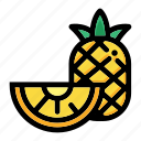 fresh fruit, fruit, half of pineapple, pineapple fruit, tropical icon