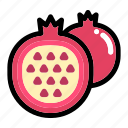 fresh fruit, fruit, half of pomegranate, organic, pomegranate fruit icon
