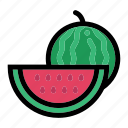 half of watermelon, healthy food, organic, vegan, vegetarian icon