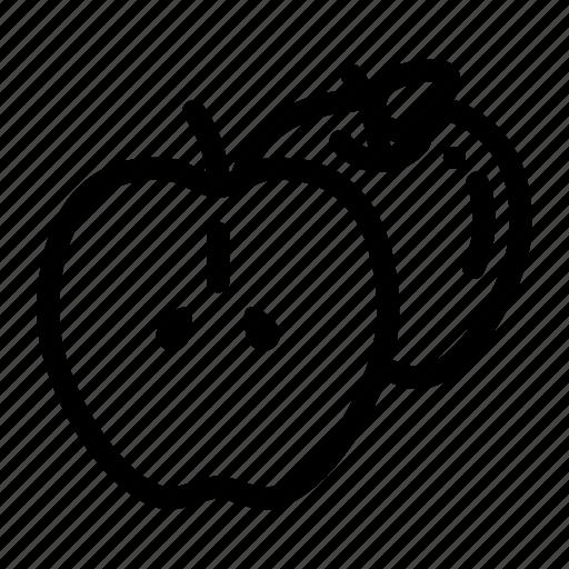 apple, apple fruit, fresh fruit, fruit, half of apple icon