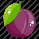 edible, fresh fruit, fruit, healthy diet, healthy food, plum icon
