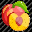 fruit, peach, edible, fresh fruit, healthy food, healthy diet icon