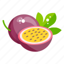 fruit, edible, fresh fruit, passion fruit, healthy food, healthy diet icon