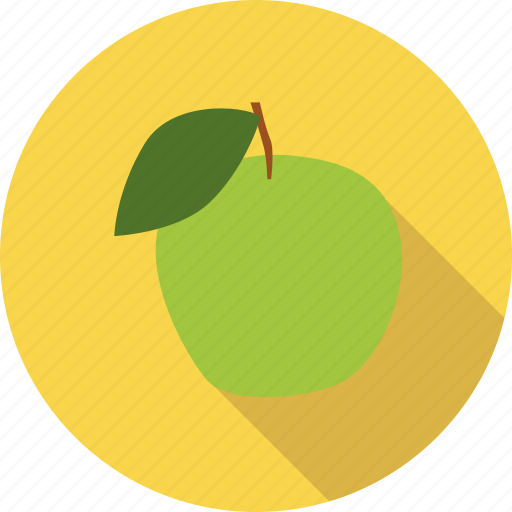 apple, food, fresh, fruit, leaf, organic icon