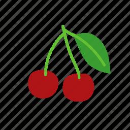 cherry, food, fresh cherry, fruit, organic, prunus icon