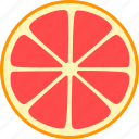 citrus, fruit, grapefruit, slice, split, whole icon