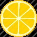 citrus, fruit, lemon, slice, split, whole icon
