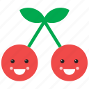 cherry, cute, emoji, emoticon, face, food, fruit icon