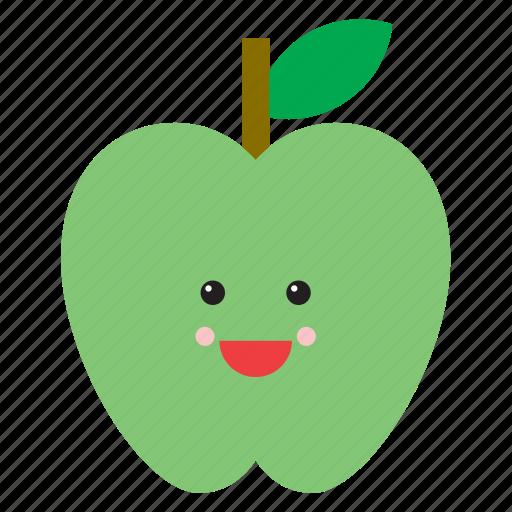 apple, emoji, emoticon, face, food, fruit, green icon