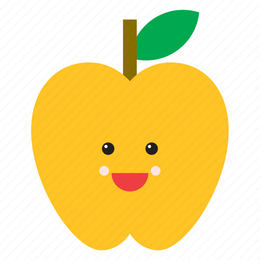 apple, emoji, emoticon, face, food, fruit, yellow icon
