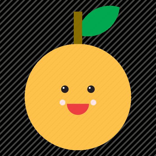 cute, emoji, emoticon, face, food, fruit, orange icon