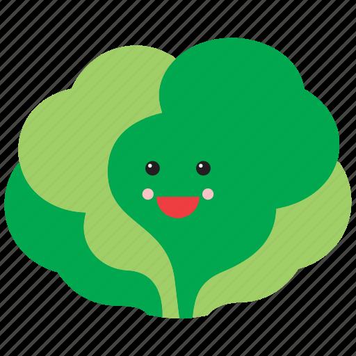 cute, emoji, emoticon, face, food, lettuce, vegetable icon