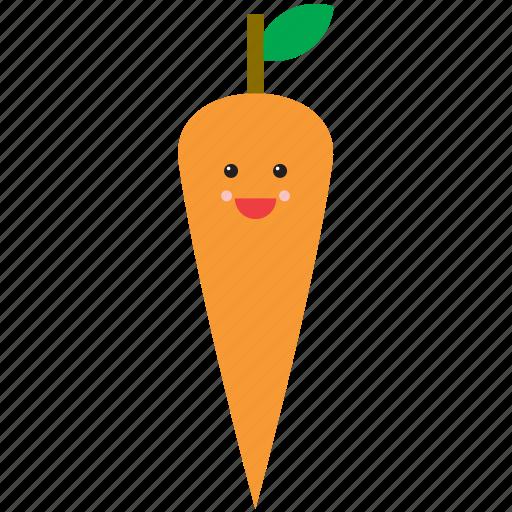 carrot, cute, emoji, emoticon, face, food, vegetable icon