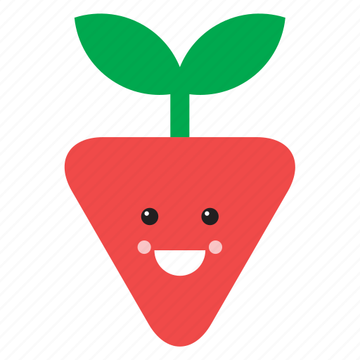 cute, emoji, emoticon, face, food, fruit, strawberry icon