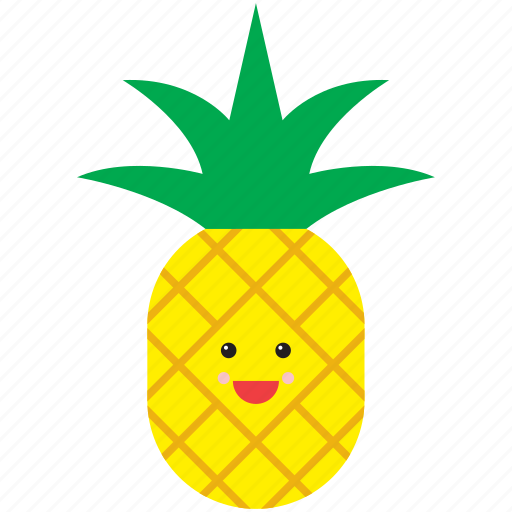cute, emoji, emoticon, face, food, fruit, pineapple icon