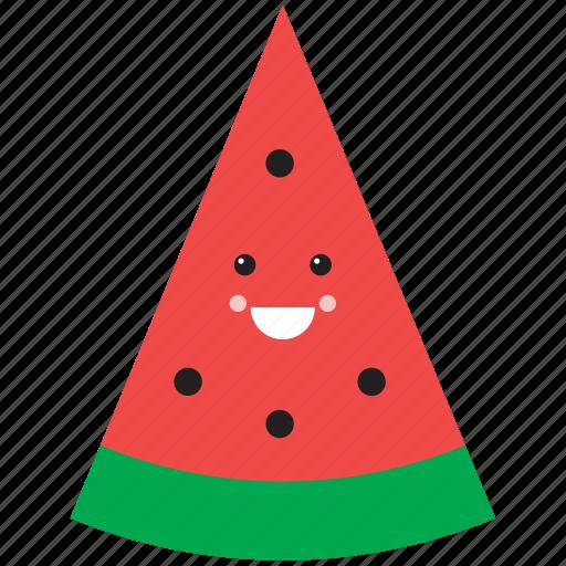 cute, emoji, emoticon, face, food, fruit, watermelon icon