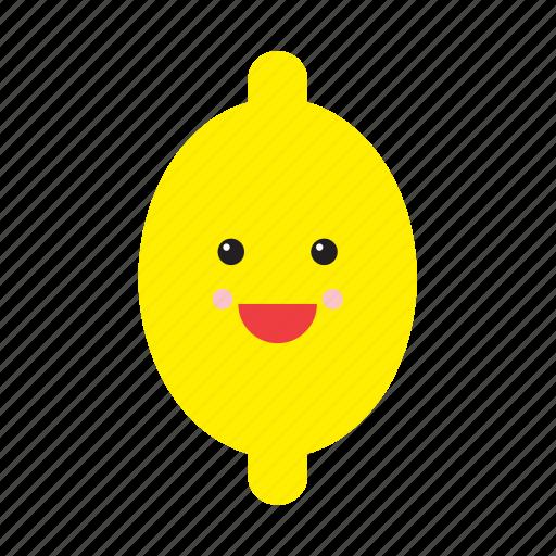 cute, emoji, emoticon, face, food, fruit, lemon icon