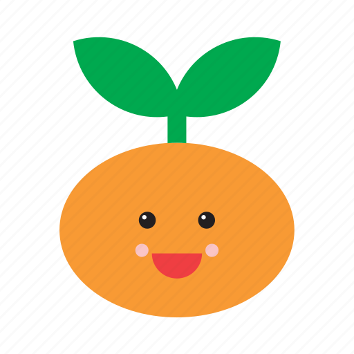 cute, emoji, emoticon, face, food, fruit, tangerine icon