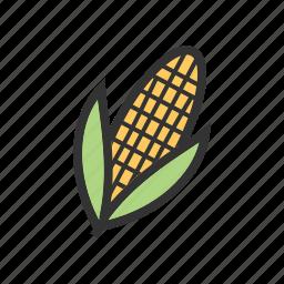 corn, food, plant, summer, sweet, sweetcorn, yellow icon