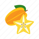 carambola, fresh, fruit, green, star, starfruit, yellow icon
