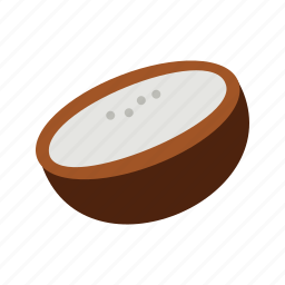 coconut, food, fresh, fruit, healthy, tropical, white icon