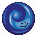 blueberry, candy, dark blue, light blue, lollipop icon