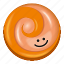 candy, lollipop, orange, peach, pink icon