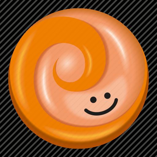 candy, lollipop, orange, peach, pink icon